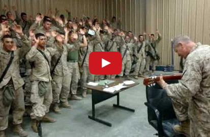 Marines singing Lord i lift your name on high photo